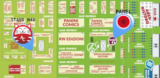 Mappa del Padiglione 16 del Cartoomics - In evidenza l'Agorà 1 dove si terrà il panel di EVA IMPACT e lo stand H40 di AnimeClick.it