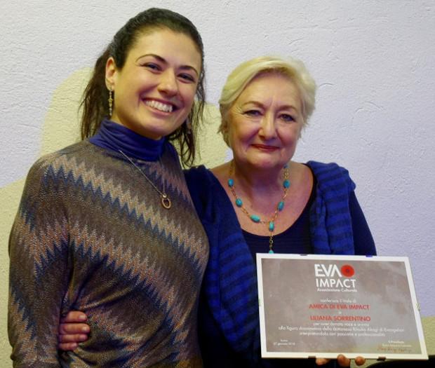 Liliana Sorrentino, doppiatrice e direttrice del doppiaggio, viene insignita del titolo Amica di EVA IMPACT