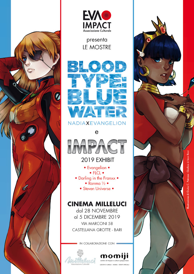 Mostre tributo itineranti Blood Type: Blue Water - Nadia × Evangelion e IMPACT 2019 al Cinema Milleluci (Castellana Grotte, Bari)