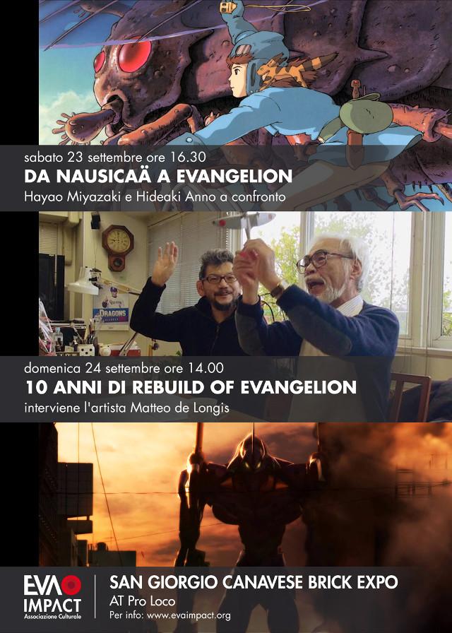 Locandina per i panel Da Nausicaä a Evangelion e 10 anni di Rebuild of Evangelion